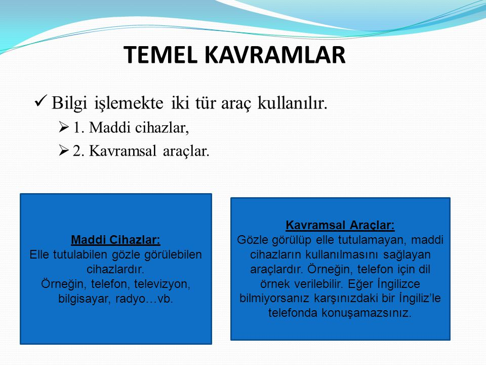 TEMEL KAVRAMLAR Bilgi işlemekte iki tür araç kullanılır.  1. Maddi cihazlar,  2. Kavramsal araçlar. Kavramsal Araçlar: Gözle görülüp elle tutulamaya