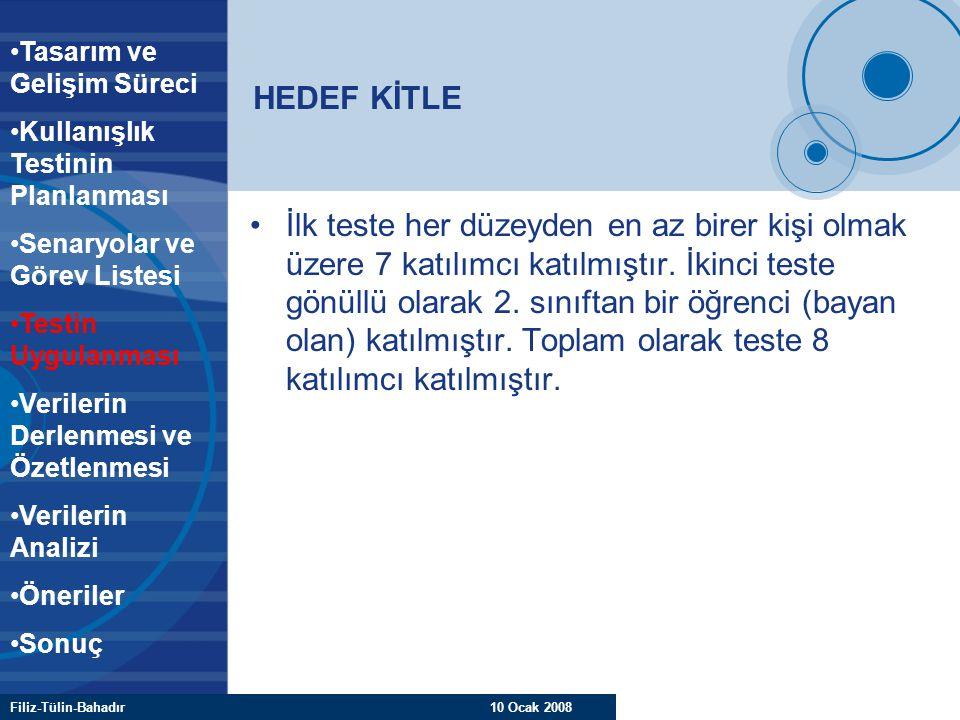 Filiz-Tülin-Bahadır 10 Ocak 2008 HEDEF KİTLE İlk teste her düzeyden en az birer kişi olmak üzere 7 katılımcı katılmıştır. İkinci teste gönüllü olarak