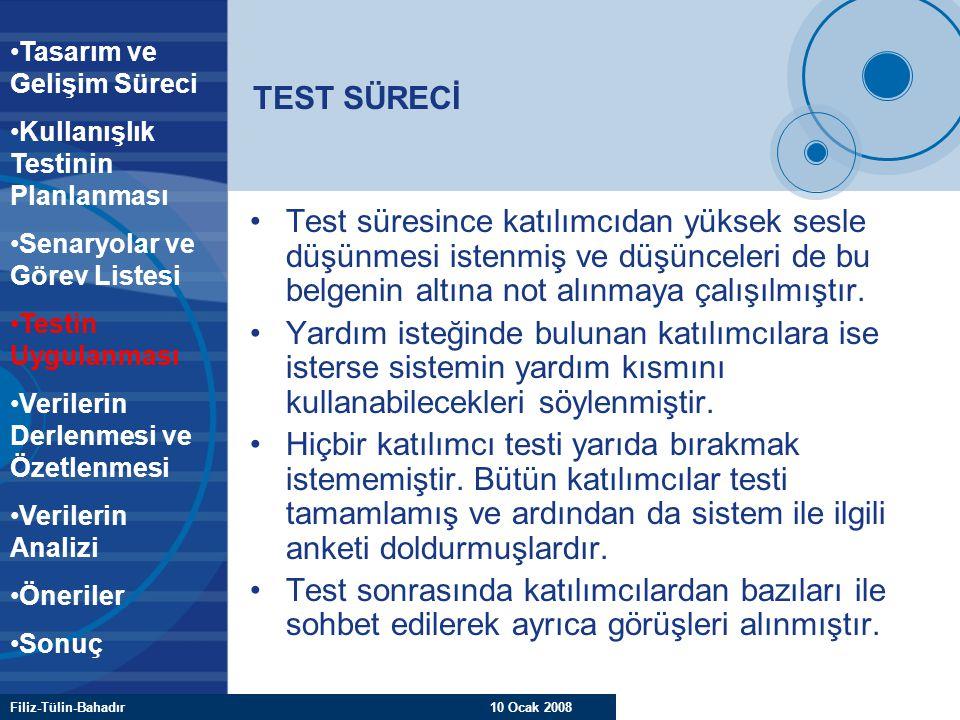 Filiz-Tülin-Bahadır 10 Ocak 2008 TEST SÜRECİ Test süresince katılımcıdan yüksek sesle düşünmesi istenmiş ve düşünceleri de bu belgenin altına not alın