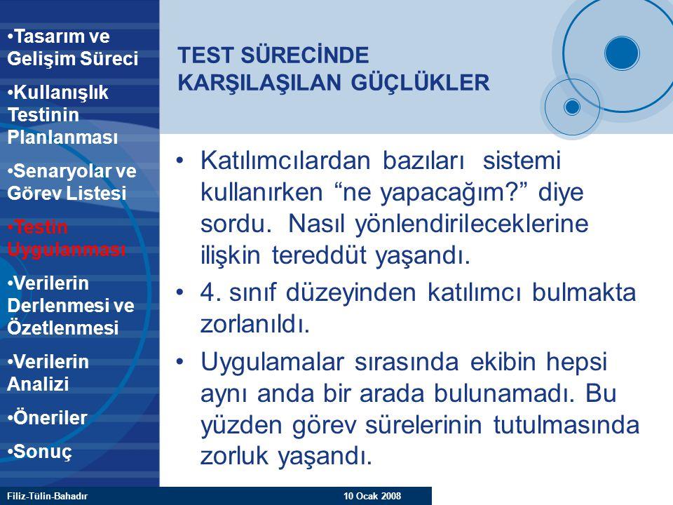 """Filiz-Tülin-Bahadır 10 Ocak 2008 TEST SÜRECİNDE KARŞILAŞILAN GÜÇLÜKLER Katılımcılardan bazıları sistemi kullanırken """"ne yapacağım?"""" diye sordu. Nasıl"""