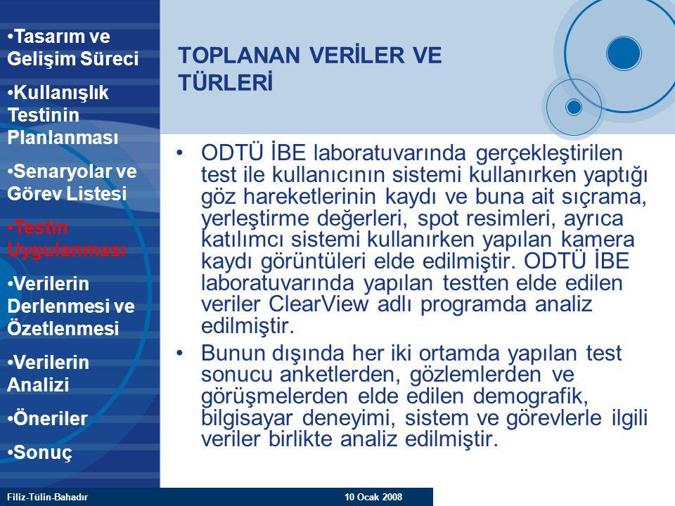 Filiz-Tülin-Bahadır 10 Ocak 2008 TOPLANAN VERİLER VE TÜRLERİ ODTÜ İBE laboratuvarında gerçekleştirilen test ile kullanıcının sistemi kullanırken yaptı