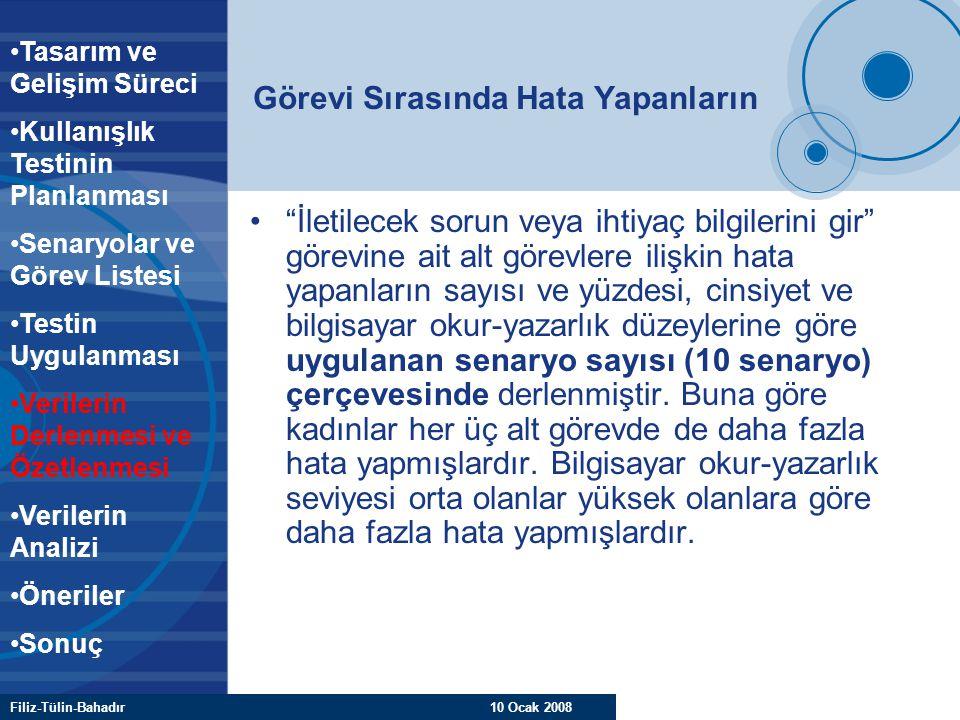 """Filiz-Tülin-Bahadır 10 Ocak 2008 Görevi Sırasında Hata Yapanların """"İletilecek sorun veya ihtiyaç bilgilerini gir"""" görevine ait alt görevlere ilişkin h"""