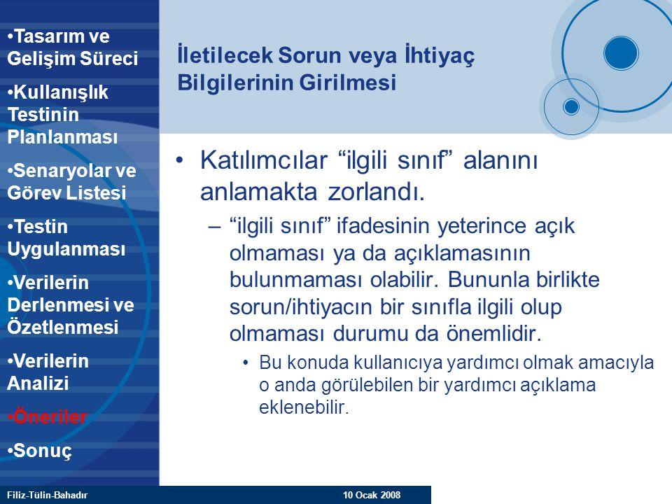 """Filiz-Tülin-Bahadır 10 Ocak 2008 İletilecek Sorun veya İhtiyaç Bilgilerinin Girilmesi Katılımcılar """"ilgili sınıf"""" alanını anlamakta zorlandı. –""""ilgili"""