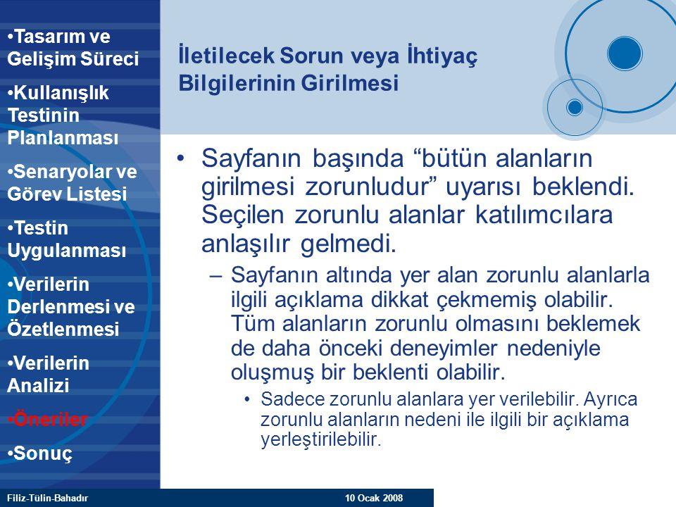 """Filiz-Tülin-Bahadır 10 Ocak 2008 İletilecek Sorun veya İhtiyaç Bilgilerinin Girilmesi Sayfanın başında """"bütün alanların girilmesi zorunludur"""" uyarısı"""