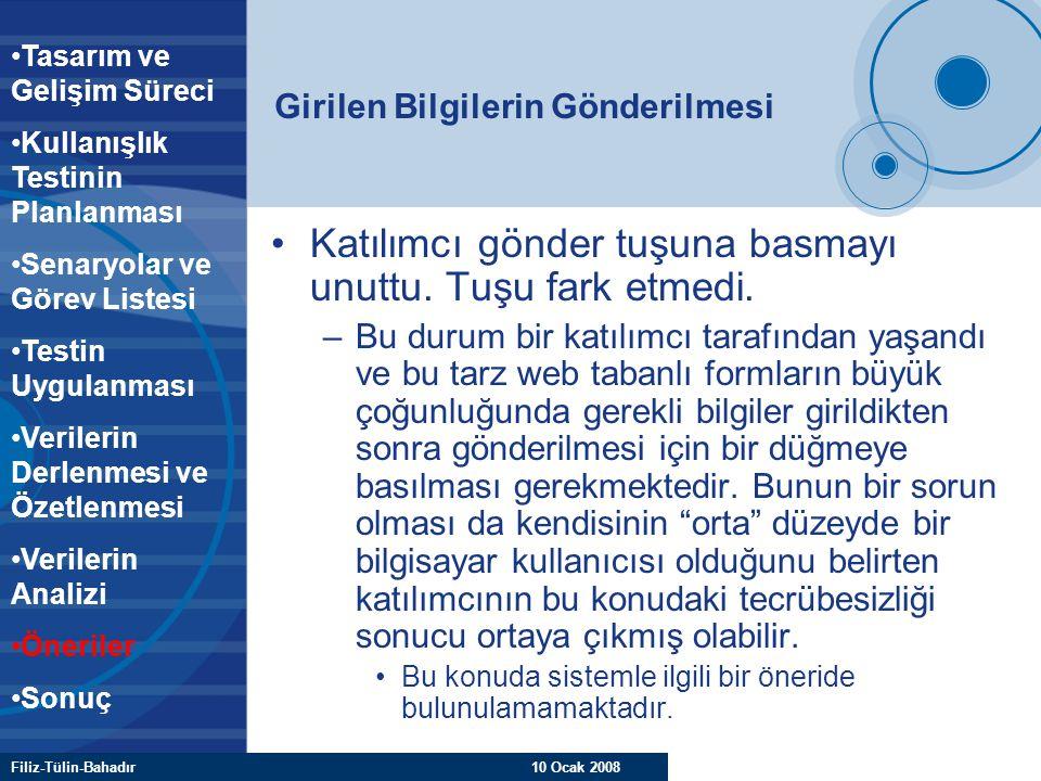 Filiz-Tülin-Bahadır 10 Ocak 2008 Girilen Bilgilerin Gönderilmesi Katılımcı gönder tuşuna basmayı unuttu. Tuşu fark etmedi. –Bu durum bir katılımcı tar