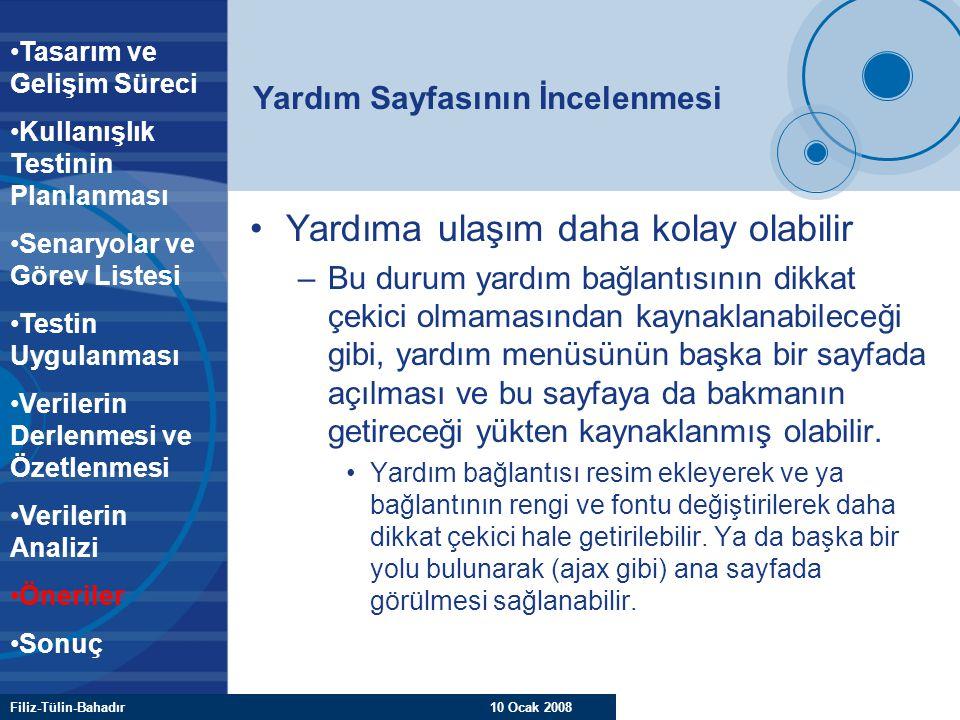 Filiz-Tülin-Bahadır 10 Ocak 2008 Yardım Sayfasının İncelenmesi Yardıma ulaşım daha kolay olabilir –Bu durum yardım bağlantısının dikkat çekici olmamas