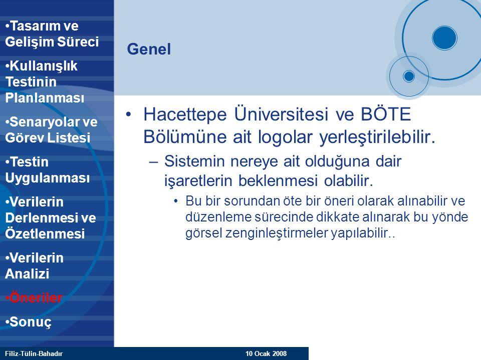 Filiz-Tülin-Bahadır 10 Ocak 2008 Genel Hacettepe Üniversitesi ve BÖTE Bölümüne ait logolar yerleştirilebilir. –Sistemin nereye ait olduğuna dair işare