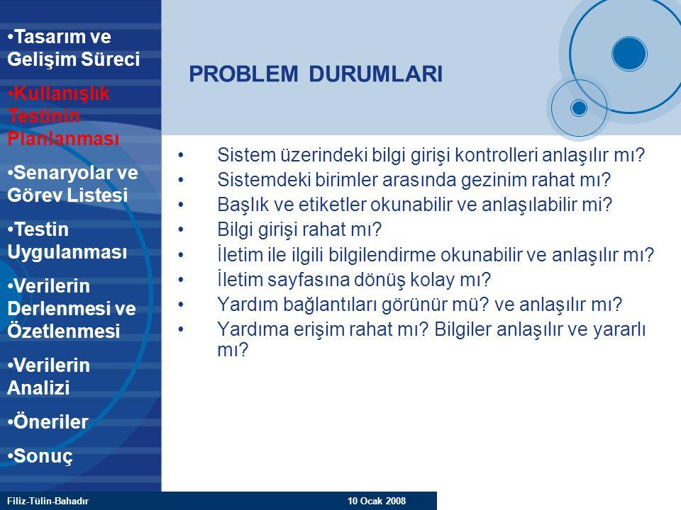 Filiz-Tülin-Bahadır 10 Ocak 2008 PROBLEM DURUMLARI Sistem üzerindeki bilgi girişi kontrolleri anlaşılır mı? Sistemdeki birimler arasında gezinim rahat