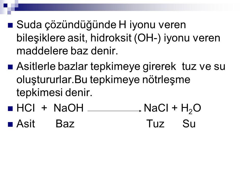 Suda çözündüğünde H iyonu veren bileşiklere asit, hidroksit (OH-) iyonu veren maddelere baz denir. Asitlerle bazlar tepkimeye girerek tuz ve su oluştu