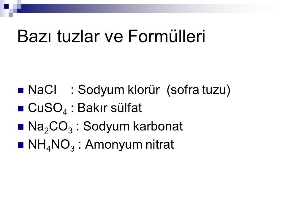 Bazı tuzlar ve Formülleri NaCI : Sodyum klorür (sofra tuzu) CuSO 4 : Bakır sülfat Na 2 CO 3 : Sodyum karbonat NH 4 NO 3 : Amonyum nitrat