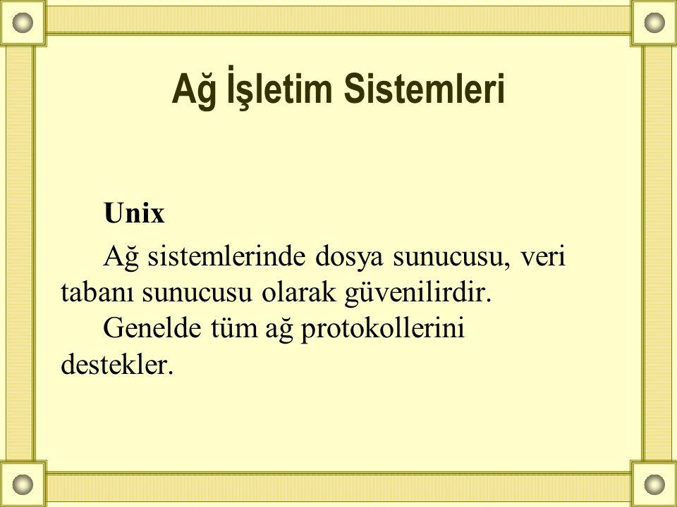 Unix Ağ sistemlerinde dosya sunucusu, veri tabanı sunucusu olarak güvenilirdir. Genelde tüm ağ protokollerini destekler. Ağ İşletim Sistemleri