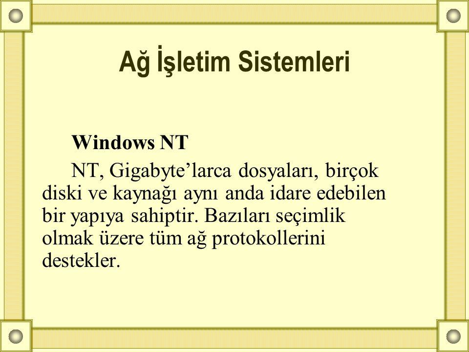 Windows NT NT, Gigabyte'larca dosyaları, birçok diski ve kaynağı aynı anda idare edebilen bir yapıya sahiptir. Bazıları seçimlik olmak üzere tüm ağ pr
