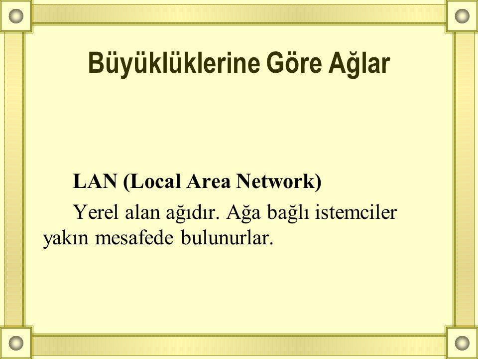 LAN (Local Area Network) Yerel alan ağıdır. Ağa bağlı istemciler yakın mesafede bulunurlar. Büyüklüklerine Göre Ağlar