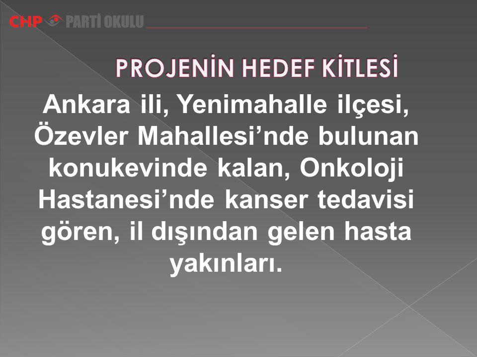 Ankara ili, Yenimahalle ilçesi, Özevler Mahallesi'nde bulunan konukevinde kalan, Onkoloji Hastanesi'nde kanser tedavisi gören, il dışından gelen hasta yakınları.