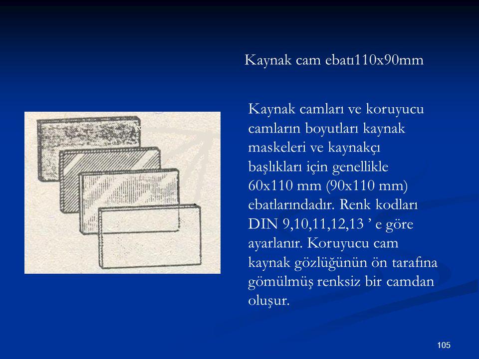105 Kaynak cam ebatı110x90mm Kaynak camları ve koruyucu camların boyutları kaynak maskeleri ve kaynakçı başlıkları için genellikle 60x110 mm (90x110 m