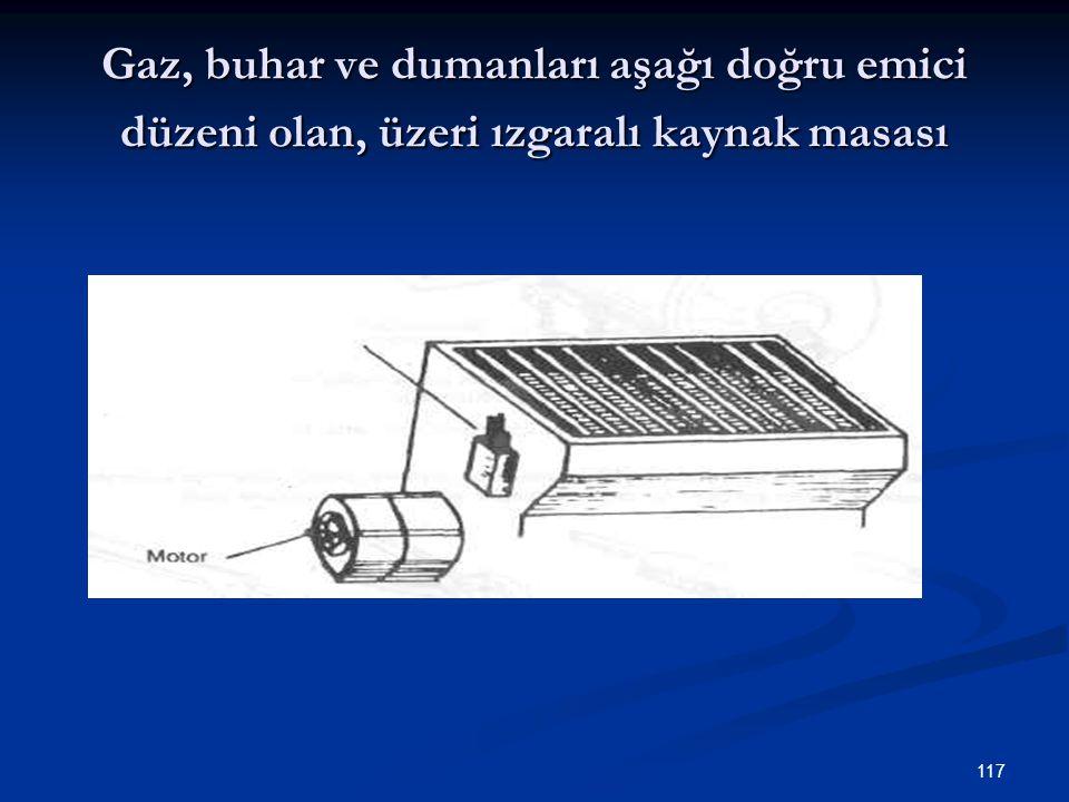 117 Gaz, buhar ve dumanları aşağı doğru emici düzeni olan, üzeri ızgaralı kaynak masası