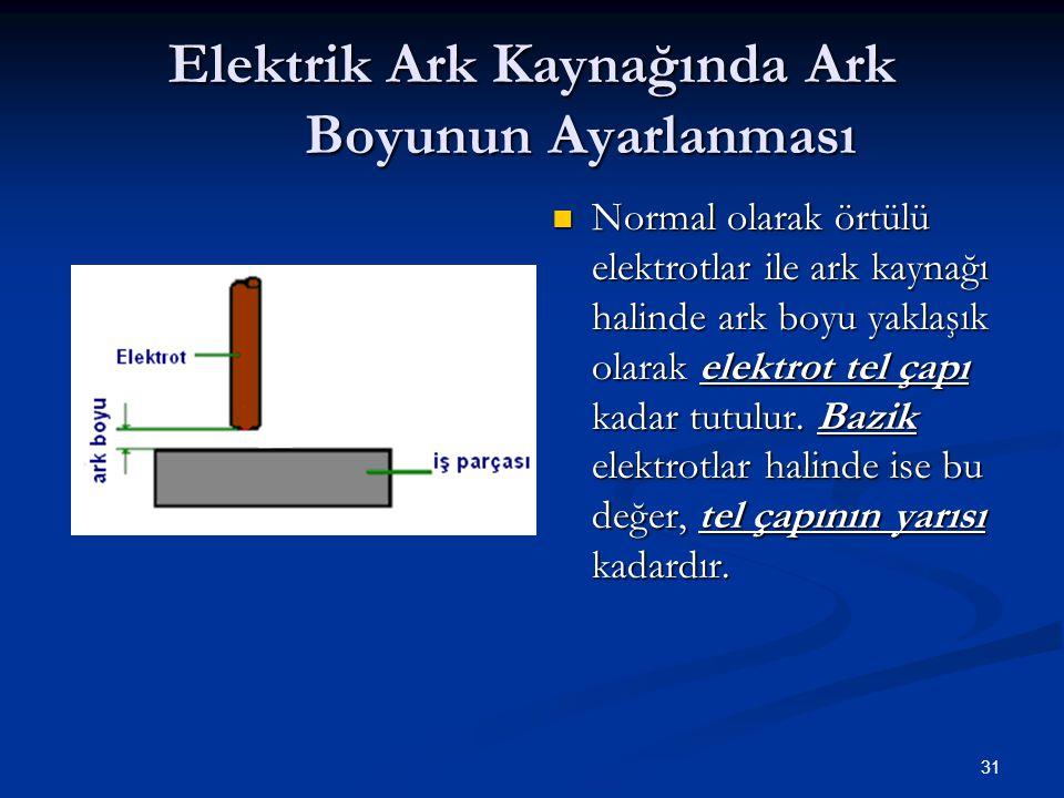 31 Elektrik Ark Kaynağında Ark Boyunun Ayarlanması Normal olarak örtülü elektrotlar ile ark kaynağı halinde ark boyu yaklaşık olarak elektrot tel çapı