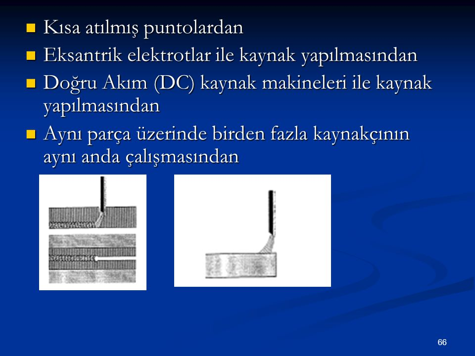 66 Kısa atılmış puntolardan Kısa atılmış puntolardan Eksantrik elektrotlar ile kaynak yapılmasından Eksantrik elektrotlar ile kaynak yapılmasından Doğ