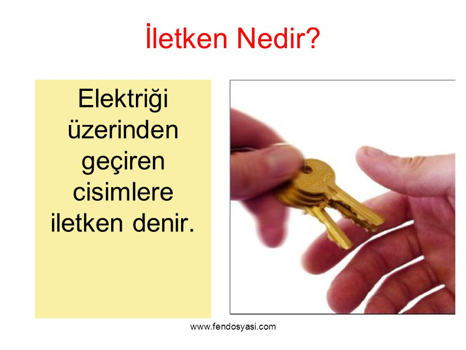 www.fendosyasi.com Yalıtkan Nedir? Elektriği üzerinden geçirmeyen cisimlere yalıtkan denir.