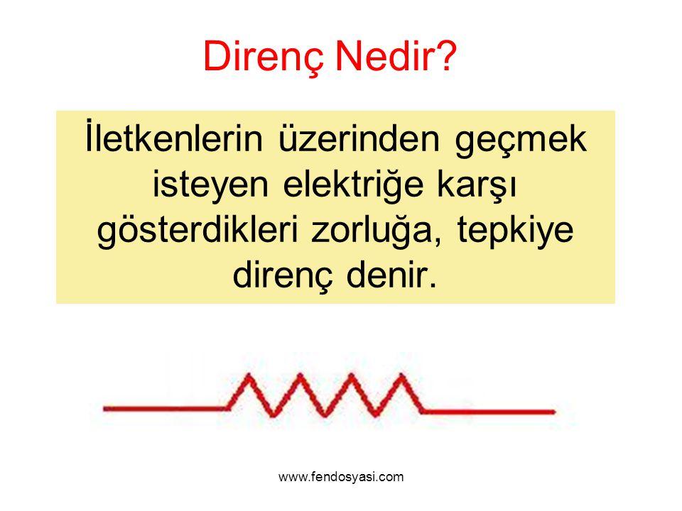 www.fendosyasi.com Direnç Nedir? İletkenlerin üzerinden geçmek isteyen elektriğe karşı gösterdikleri zorluğa, tepkiye direnç denir.