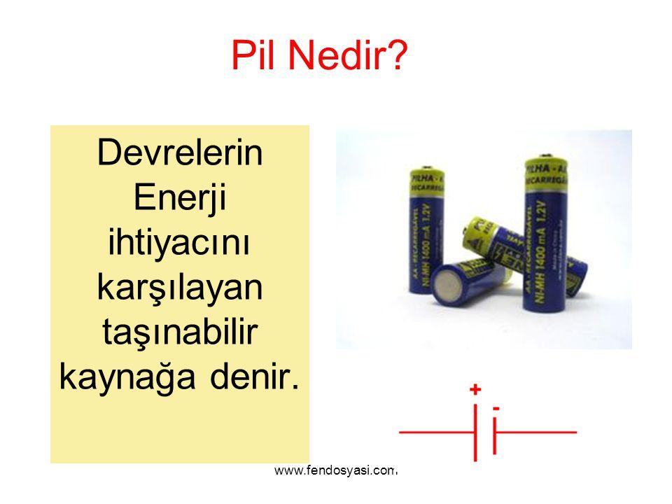www.fendosyasi.com Pil Nedir? Devrelerin Enerji ihtiyacını karşılayan taşınabilir kaynağa denir.