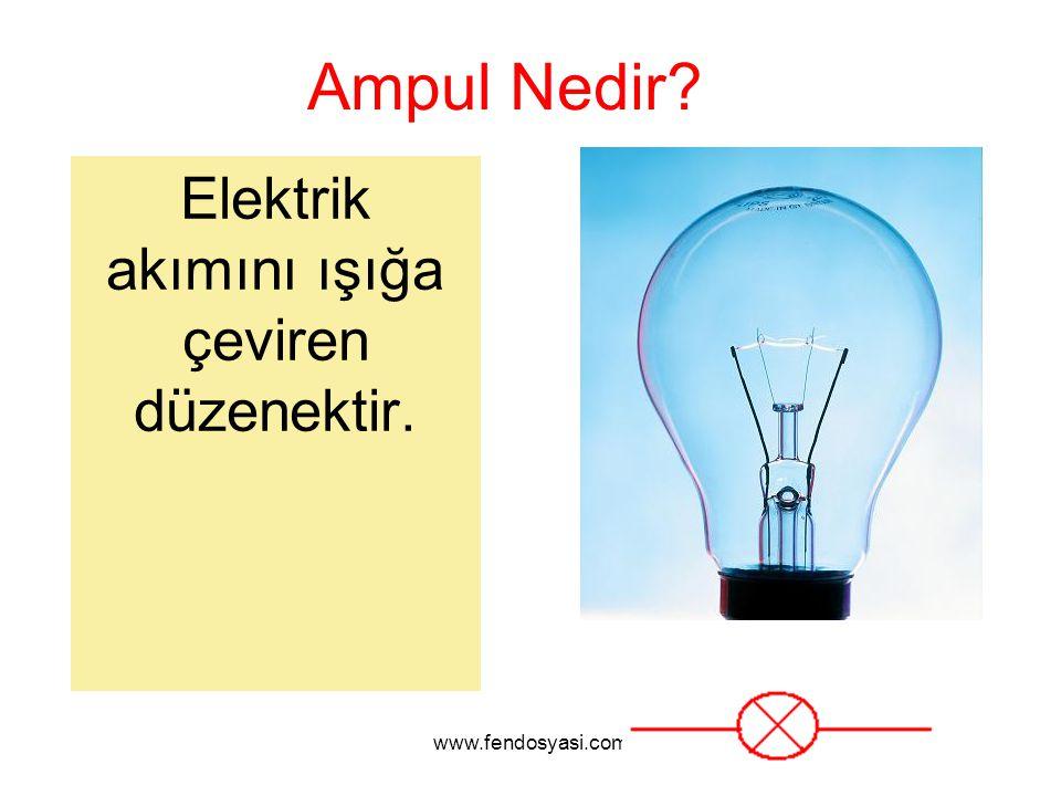 www.fendosyasi.com Ampul Nedir? Elektrik akımını ışığa çeviren düzenektir.