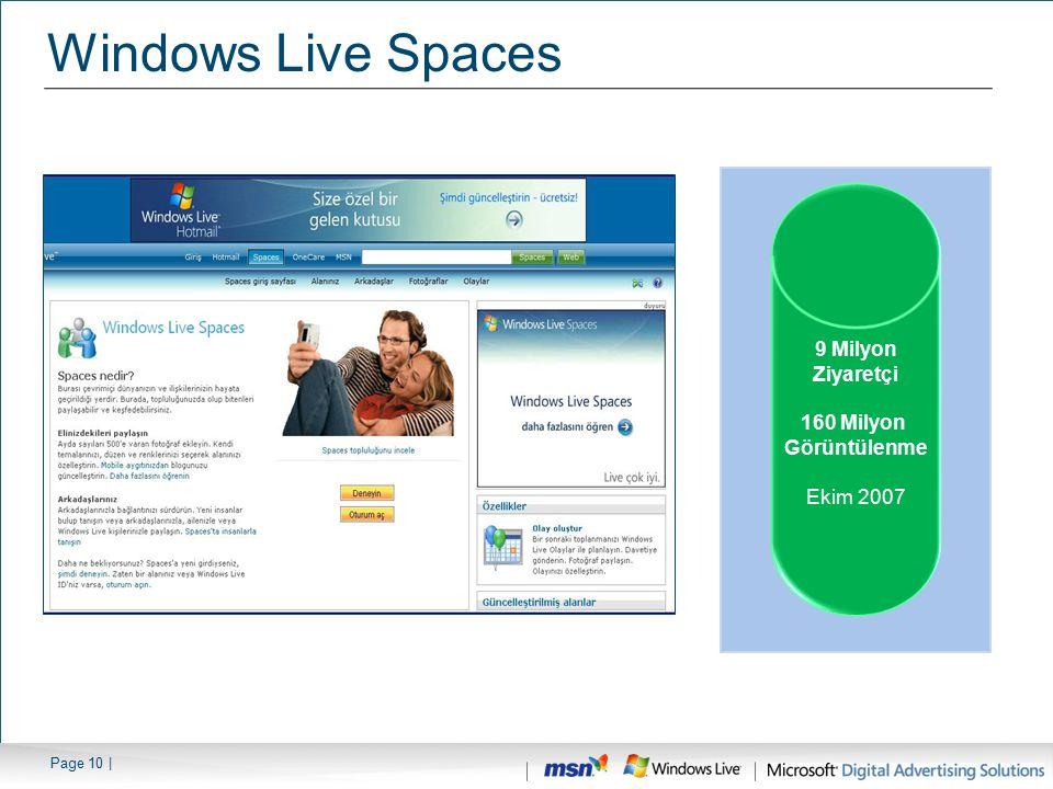 Page 10 | Windows Live Spaces 9 Milyon Ziyaretçi 160 Milyon Görüntülenme Ekim 2007