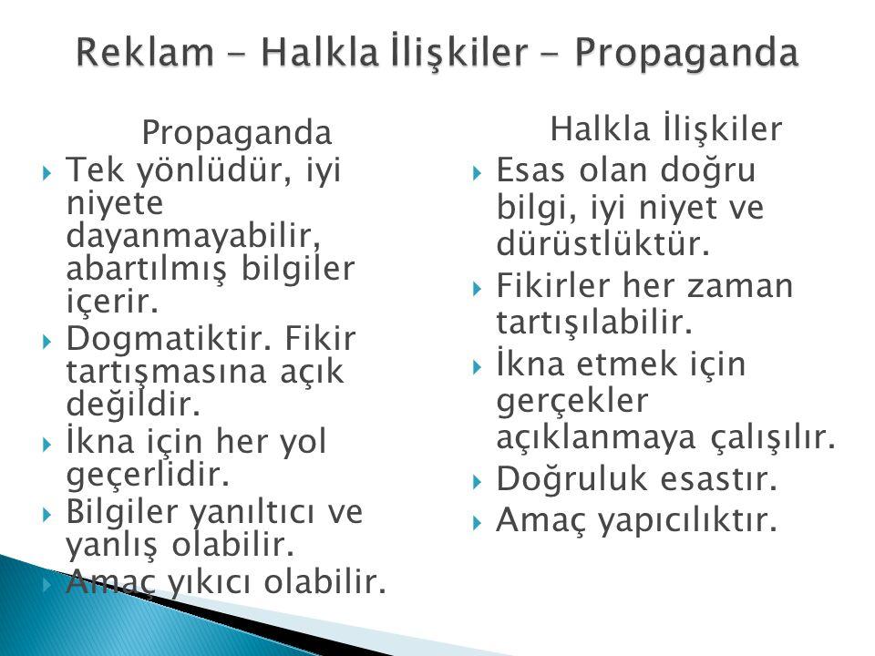 Propaganda  Tek yönlüdür, iyi niyete dayanmayabilir, abartılmış bilgiler içerir.  Dogmatiktir. Fikir tartışmasına açık değildir.  İkna için her yol