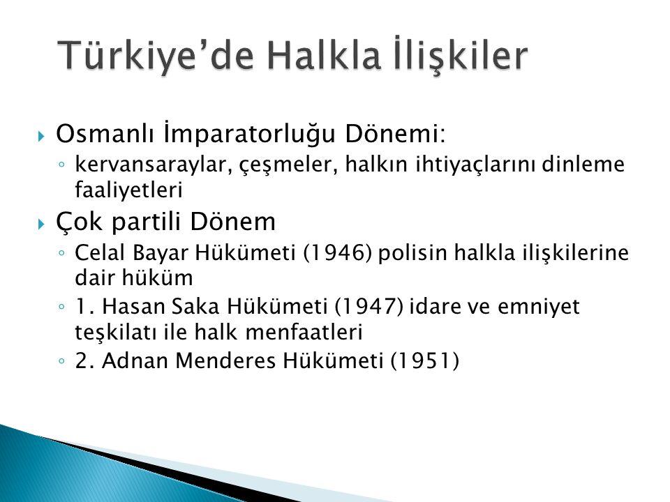  Osmanlı İmparatorluğu Dönemi: ◦ kervansaraylar, çeşmeler, halkın ihtiyaçlarını dinleme faaliyetleri  Çok partili Dönem ◦ Celal Bayar Hükümeti (1946