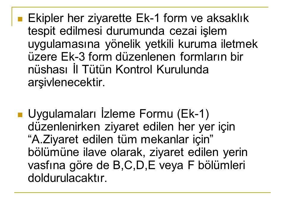 Ekipler her ziyarette Ek-1 form ve aksaklık tespit edilmesi durumunda cezai işlem uygulamasına yönelik yetkili kuruma iletmek üzere Ek-3 form düzenlen