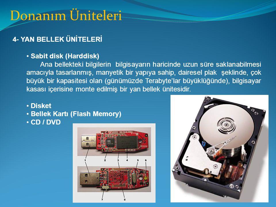 Donanım Üniteleri 4- YAN BELLEK ÜNİTELERİ Sabit disk (Harddisk) Ana bellekteki bilgilerin bilgisayarın haricinde uzun süre saklanabilmesi amacıyla tas