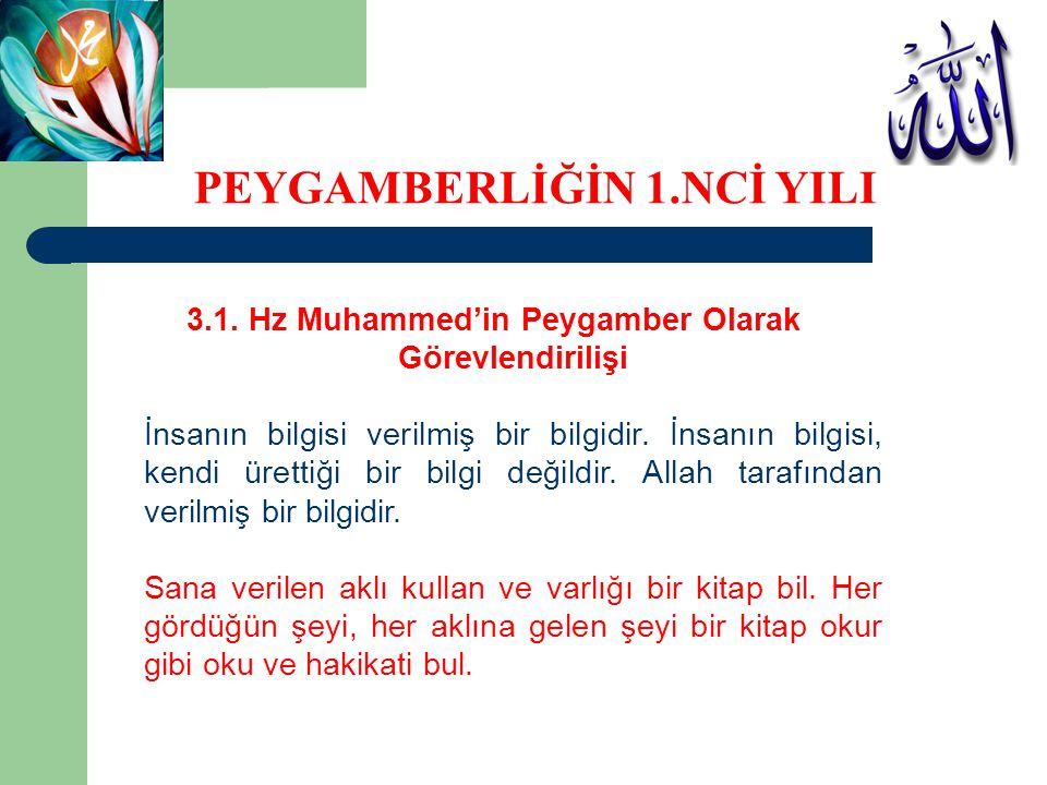 3.1. Hz Muhammed'in Peygamber Olarak Görevlendirilişi İnsanın bilgisi verilmiş bir bilgidir. İnsanın bilgisi, kendi ürettiği bir bilgi değildir. Allah