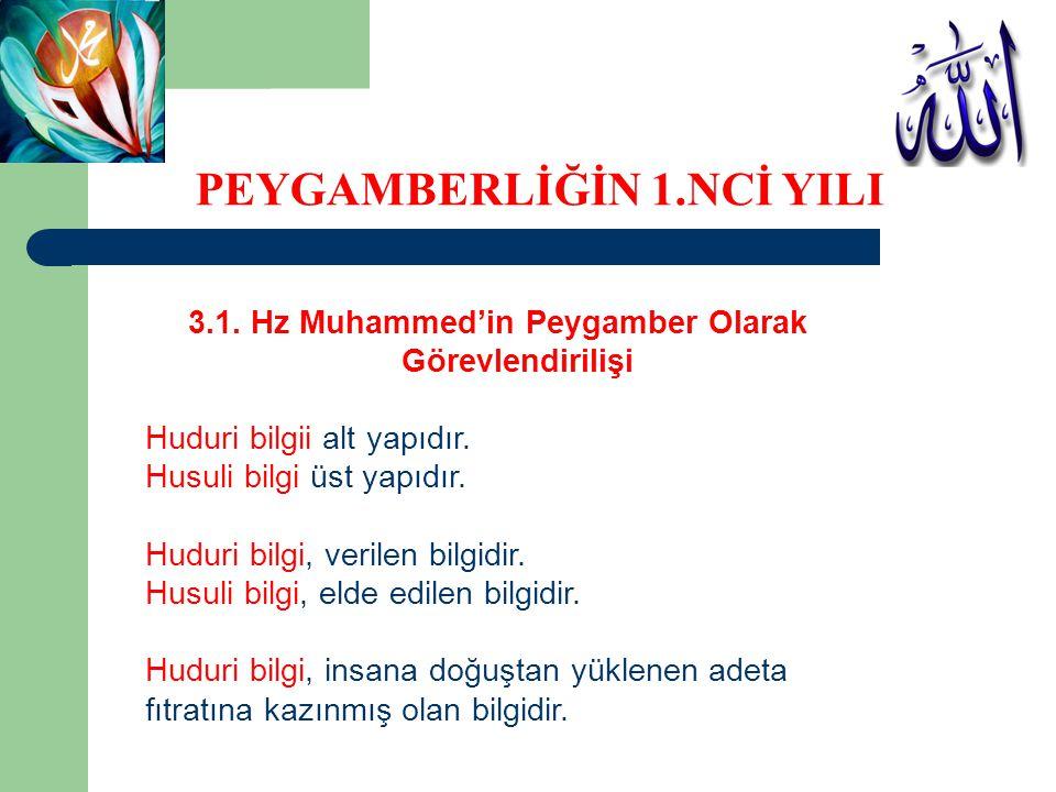 3.1. Hz Muhammed'in Peygamber Olarak Görevlendirilişi Huduri bilgii alt yapıdır. Husuli bilgi üst yapıdır. Huduri bilgi, verilen bilgidir. Husuli bilg