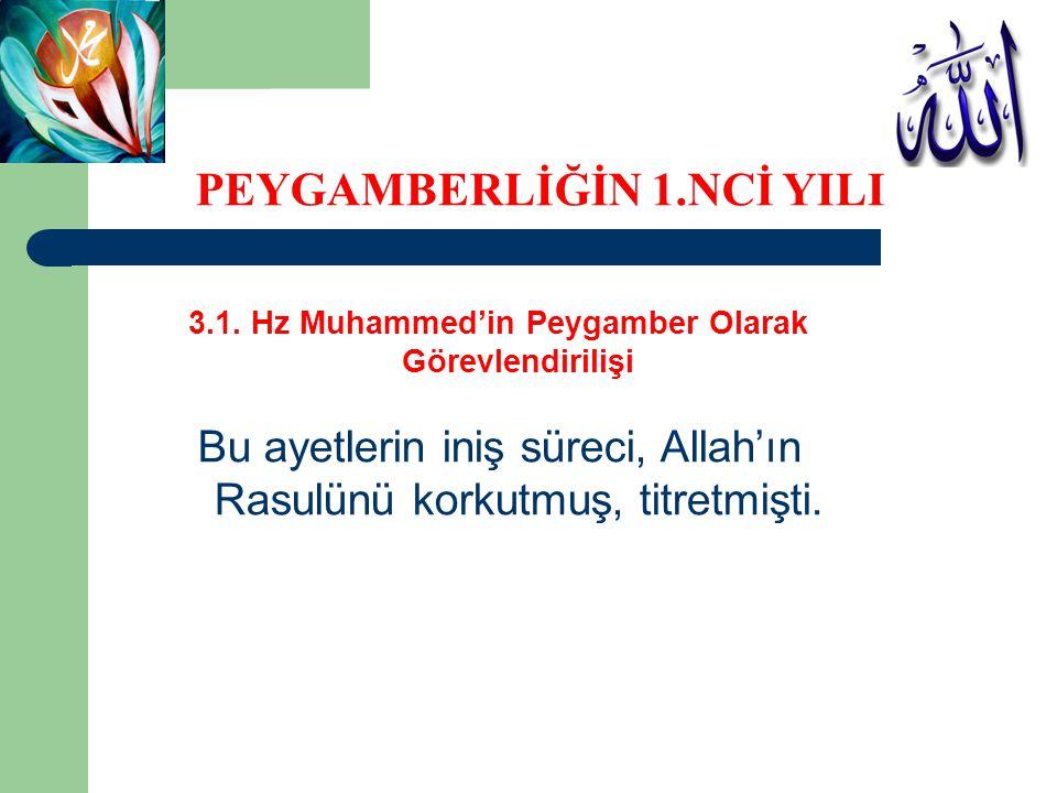 3.1. Hz Muhammed'in Peygamber Olarak Görevlendirilişi Bu ayetlerin iniş süreci, Allah'ın Rasulünü korkutmuş, titretmişti. PEYGAMBERLİĞİN 1.NCİ YILI