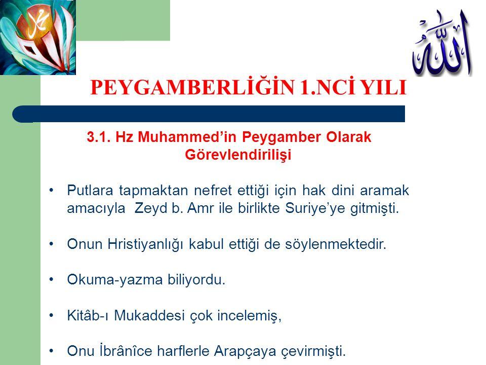 3.1. Hz Muhammed'in Peygamber Olarak Görevlendirilişi Putlara tapmaktan nefret ettiği için hak dini aramak amacıyla Zeyd b. Amr ile birlikte Suriye'ye