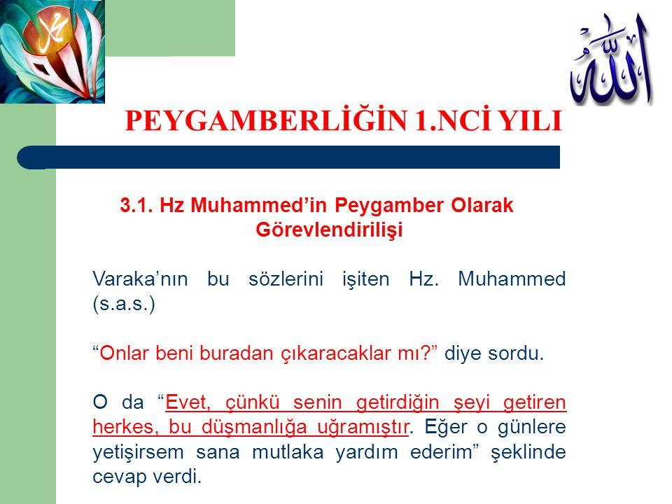"""3.1. Hz Muhammed'in Peygamber Olarak Görevlendirilişi Varaka'nın bu sözlerini işiten Hz. Muhammed (s.a.s.) """"Onlar beni buradan çıkaracaklar mı?"""" diye"""