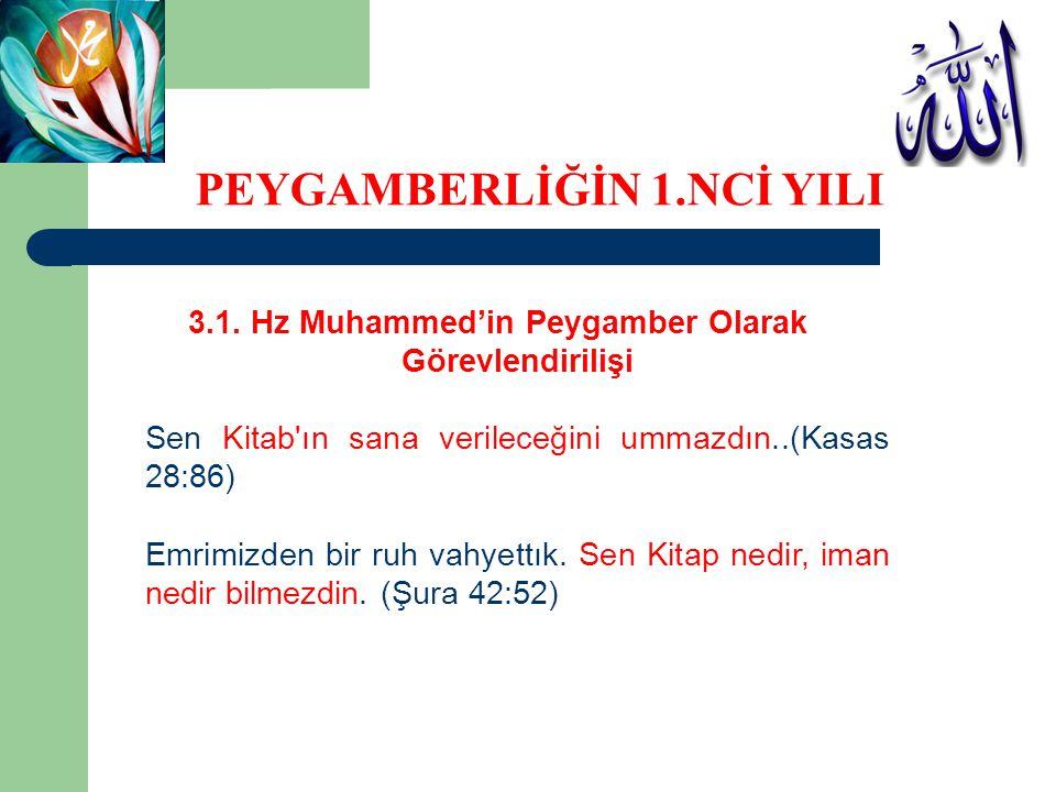 3.1. Hz Muhammed'in Peygamber Olarak Görevlendirilişi Sen Kitab'ın sana verileceğini ummazdın..(Kasas 28:86) Emrimizden bir ruh vahyettık. Sen Kitap n