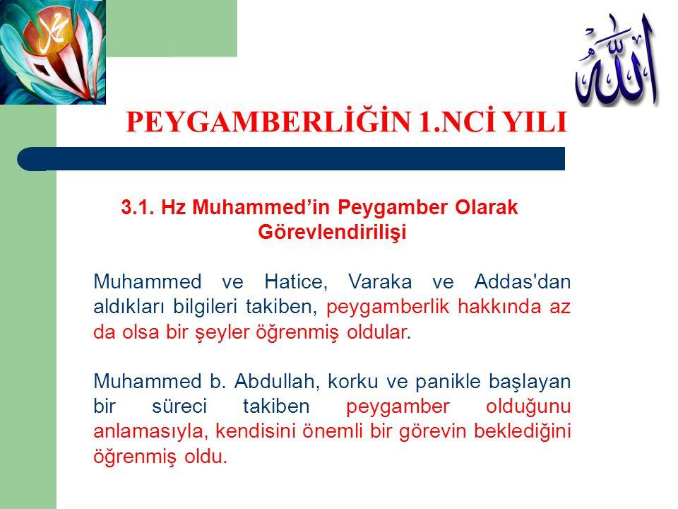 3.1. Hz Muhammed'in Peygamber Olarak Görevlendirilişi Muhammed ve Hatice, Varaka ve Addas'dan aldıkları bilgileri takiben, peygamberlik hakkında az da