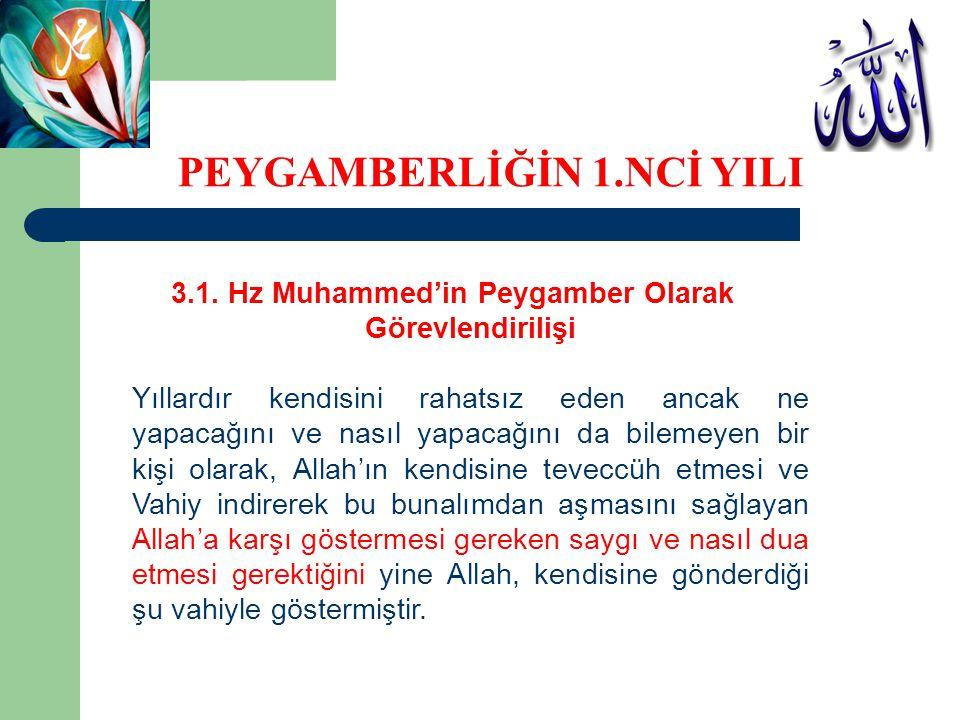 3.1. Hz Muhammed'in Peygamber Olarak Görevlendirilişi Yıllardır kendisini rahatsız eden ancak ne yapacağını ve nasıl yapacağını da bilemeyen bir kişi