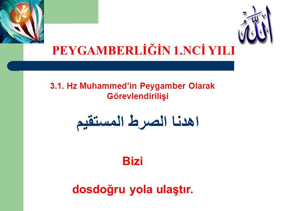 3.1. Hz Muhammed'in Peygamber Olarak Görevlendirilişi اهدنا الصرط المستقيم Bizi dosdoğru yola ulaştır. PEYGAMBERLİĞİN 1.NCİ YILI