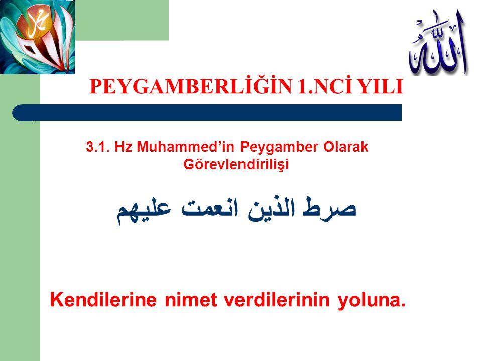 3.1. Hz Muhammed'in Peygamber Olarak Görevlendirilişi صرط الذين انعمت عليهم Kendilerine nimet verdilerinin yoluna. PEYGAMBERLİĞİN 1.NCİ YILI
