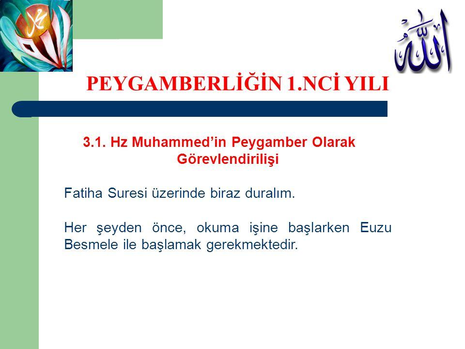 3.1. Hz Muhammed'in Peygamber Olarak Görevlendirilişi Fatiha Suresi üzerinde biraz duralım. Her şeyden önce, okuma işine başlarken Euzu Besmele ile ba