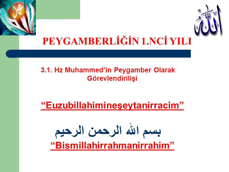 """3.1. Hz Muhammed'in Peygamber Olarak Görevlendirilişi """"Euzubillahimineşeytanirracim"""" بسم الله الرحمن الرحيم """"Bismillahirrahmanirrahim"""" PEYGAMBERLİĞİN"""