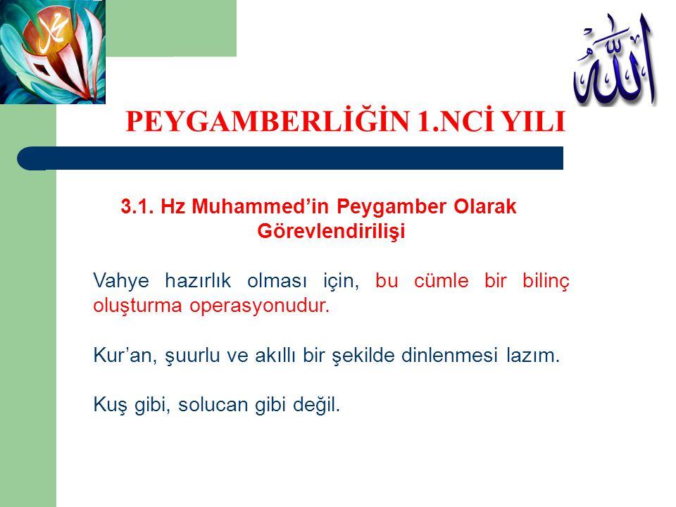 3.1. Hz Muhammed'in Peygamber Olarak Görevlendirilişi Vahye hazırlık olması için, bu cümle bir bilinç oluşturma operasyonudur. Kur'an, şuurlu ve akıll