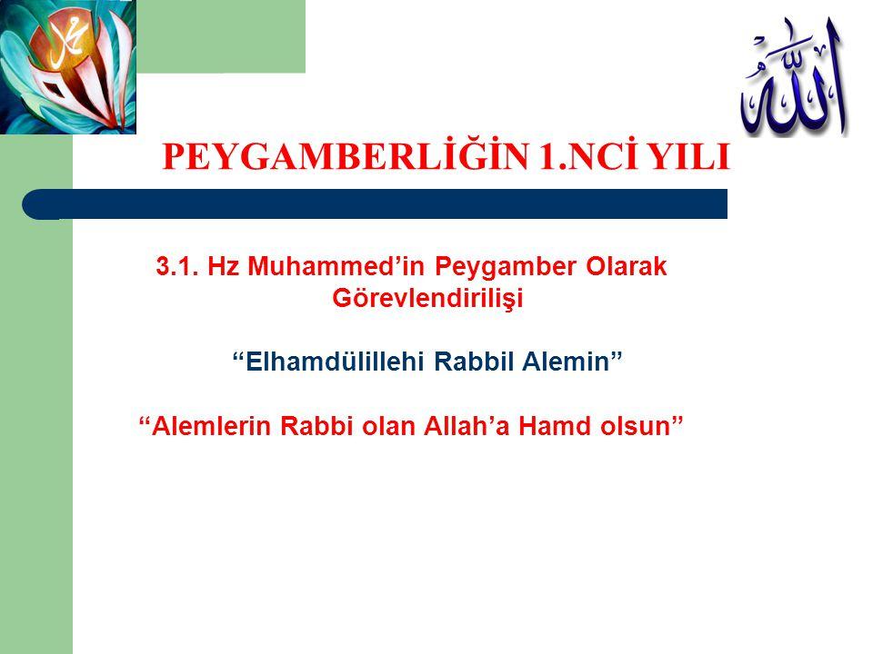 """3.1. Hz Muhammed'in Peygamber Olarak Görevlendirilişi """"Elhamdülillehi Rabbil Alemin"""" """"Alemlerin Rabbi olan Allah'a Hamd olsun"""" PEYGAMBERLİĞİN 1.NCİ YI"""