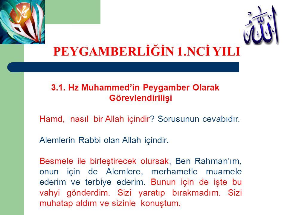 3.1. Hz Muhammed'in Peygamber Olarak Görevlendirilişi Hamd, nasıl bir Allah içindir? Sorusunun cevabıdır. Alemlerin Rabbi olan Allah içindir. Besmele