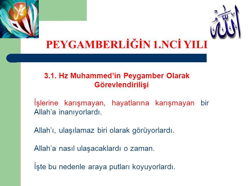 3.1. Hz Muhammed'in Peygamber Olarak Görevlendirilişi İşlerine karışmayan, hayatlarına karışmayan bir Allah'a inanıyorlardı. Allah'ı, ulaşılamaz biri