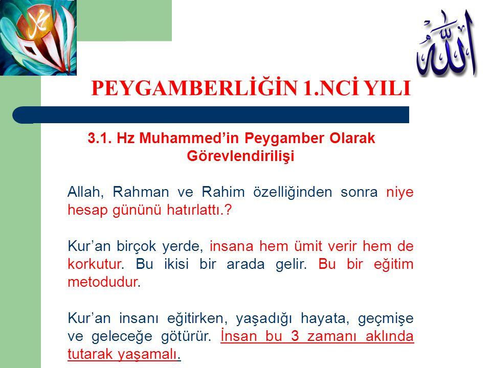 3.1. Hz Muhammed'in Peygamber Olarak Görevlendirilişi Allah, Rahman ve Rahim özelliğinden sonra niye hesap gününü hatırlattı.? Kur'an birçok yerde, in