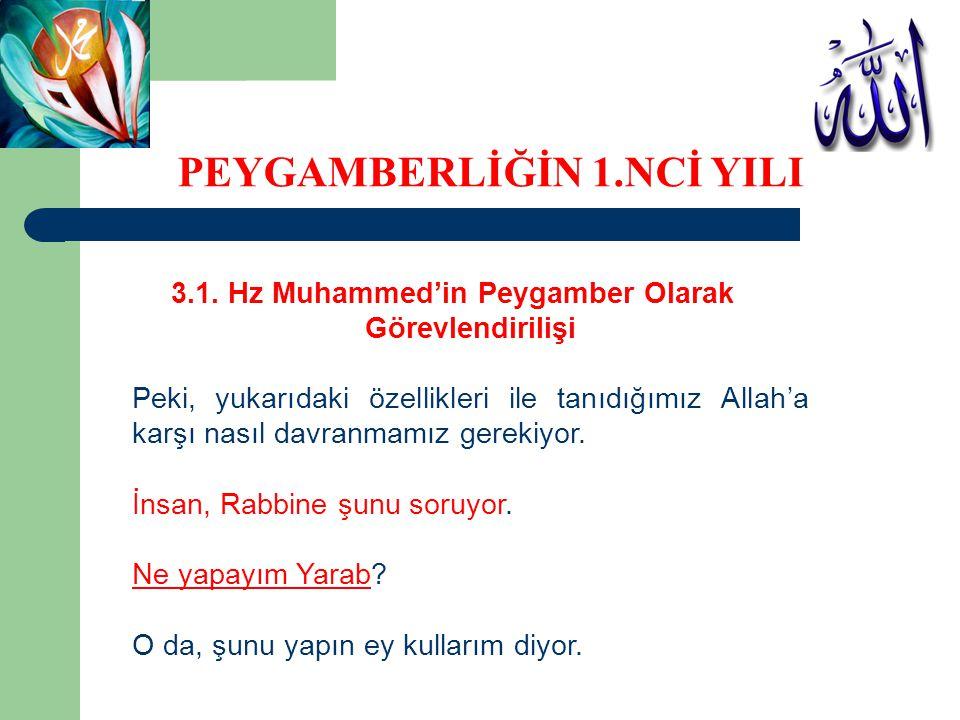 3.1. Hz Muhammed'in Peygamber Olarak Görevlendirilişi Peki, yukarıdaki özellikleri ile tanıdığımız Allah'a karşı nasıl davranmamız gerekiyor. İnsan, R