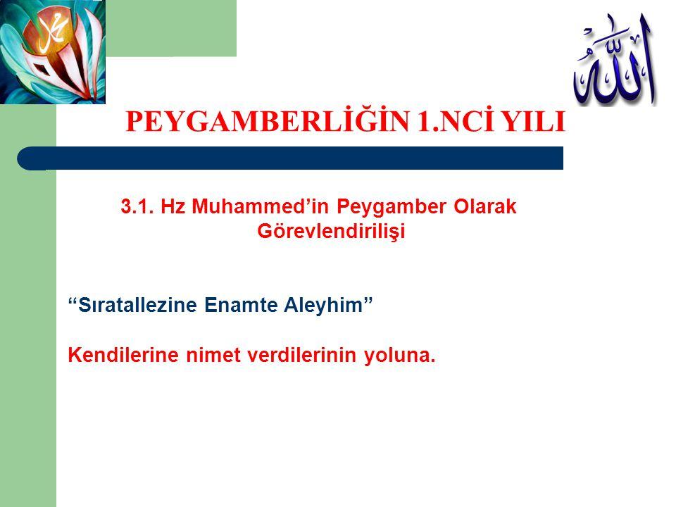 """3.1. Hz Muhammed'in Peygamber Olarak Görevlendirilişi """"Sıratallezine Enamte Aleyhim"""" Kendilerine nimet verdilerinin yoluna. PEYGAMBERLİĞİN 1.NCİ YILI"""